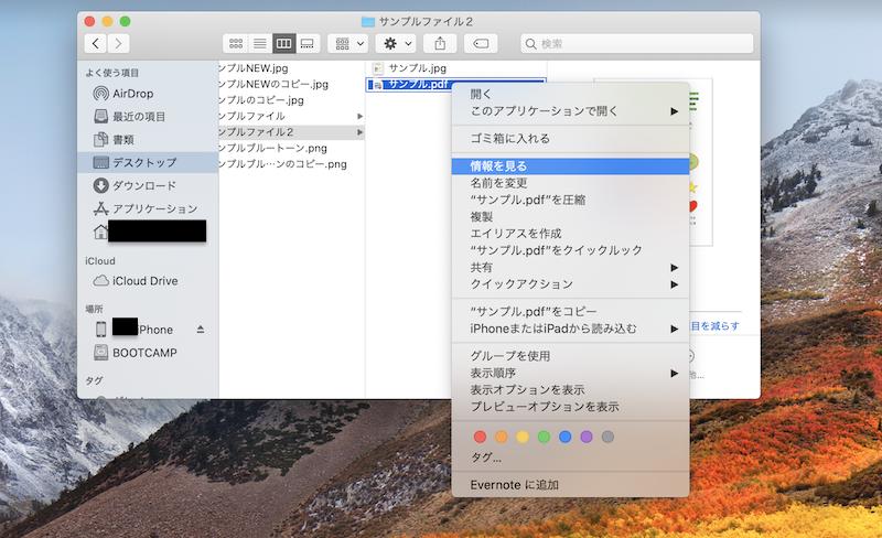 Macファイル情報を見る